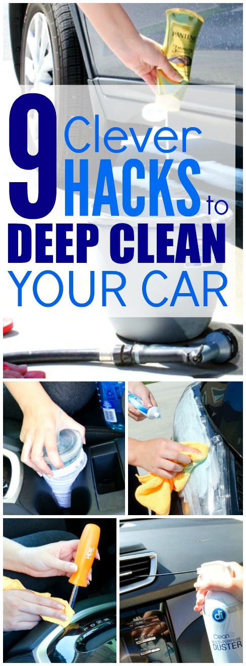 These 9 Clever hacks for cleaning and deep cleaning the car are THE BEST! I'm so glad I found these AMAZING tips! Now I have great car hacks and tips when wanting to make it look like new again! Definitely pinning!
