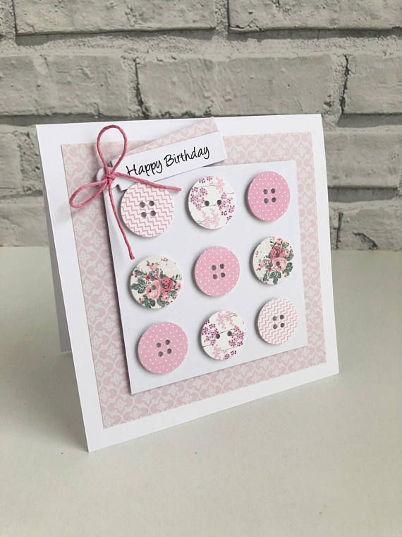 The handmade button card comes in a choice of pink, blue or multi coloured and is perfect feminine card for any lovely lady. Make someone feel special by choosing a card that is personal and handmade. This card can be personalised with name/relative or age, please contact me with