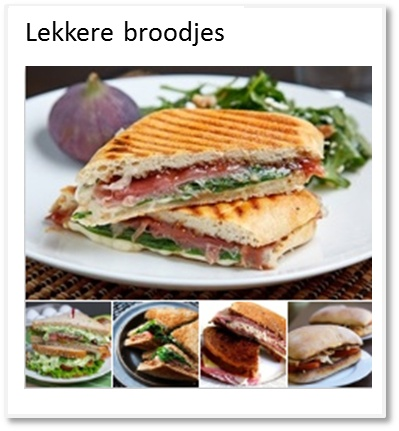 Allerlei soorten lekkere broodjes, sandwiches etc. zowel warm als koud.
