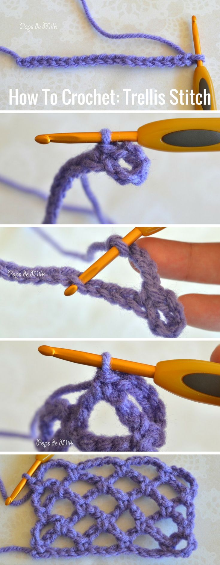 How To Crochet: Trellis Stitch Step-by-step Tutorial