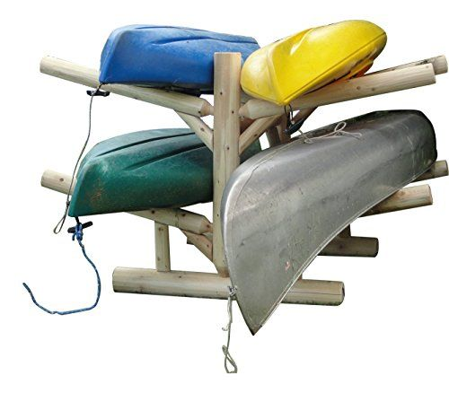 Log Kayak Rack 4-place  Heavy duty holds 4 kayaks, surfboards, canoes or sup, Each boat can be up to 100 pounds  Made of 100% northern white cedar logs with mortise and tenon joinery  Made in Manitowish Waters, Wisconsion, Made in USA  1-year warranty  Assembly required