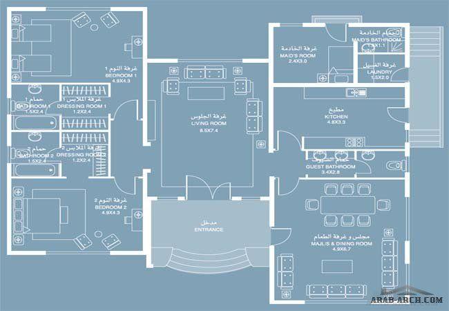 خرائط الفيلا زفير 4 طابق واحد 187 متر مربع Drawing House Plans House Design House Plans