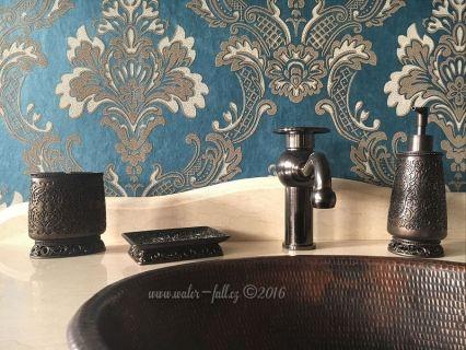 Retro baterie Sole s měděným umyvadlem a retro koupelnové doplňky, Design Oil Rubbed Bronze Faucet, copper sink and Bathroom accessories