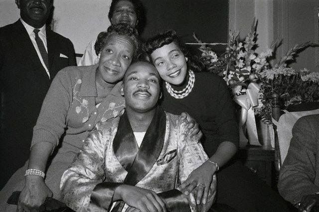 Martin Luther King, Jr. With His Mother Alberta Williams King And Wife Coretta Scott King At A Harlem Hospital In 1958.