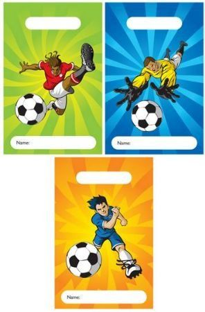 12 Football Design Childrens Party Bags / Kids Fillers Gifts Favours Toys Sweets - FILL UP THESE FANTASTIC PARTY BAGS WITH TOYS, GAMES AND SWEETS FOR YOUR KIDS BIRTHDAY PARTY!  IDEAL FOR ANY CHILDRENS BIRTHDAY PARTY, KIDS WILL LOVE THEM!   NEED TO FILL YOUR PARTY BAGS?  VISIT OUR SHOP FOR HUNDREDS OF FANTASTIC PARTY BAG FILLERS   FROM POP-UP ALIENS & TOY CARS TO GLITTER KEY RINGS & DINOSAUR STICKERS! 10 party bags Ideal for filling with party bag fillers & toys 15 x 22 (cm) [