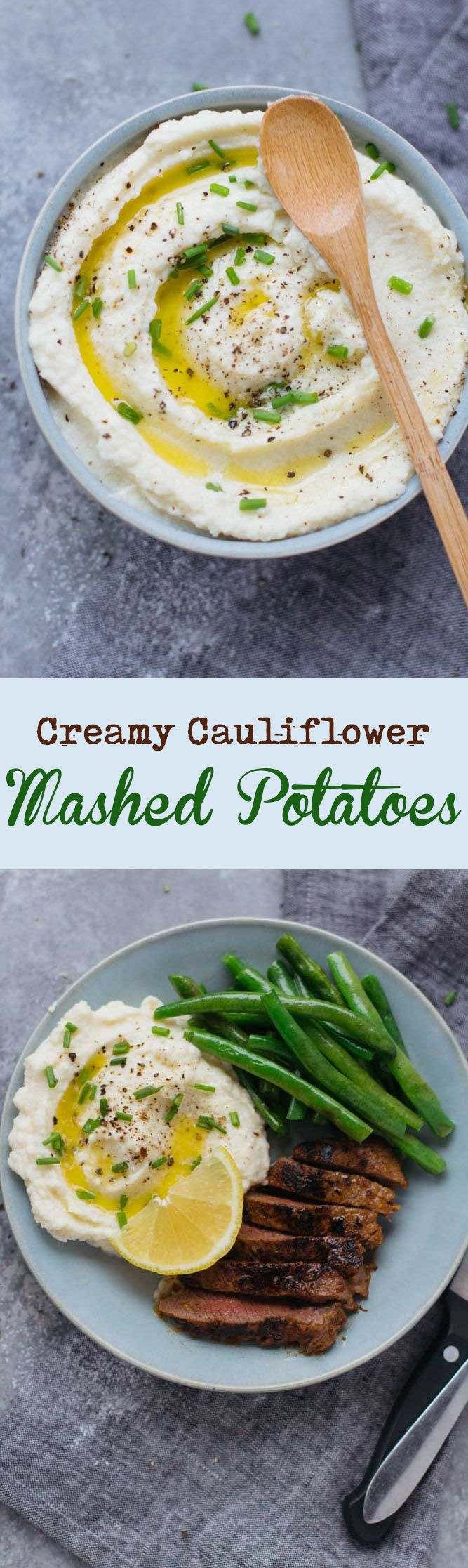 "These Creamy Cauliflower Mashed ""Potatoes"" are super fluffy and tasty - make them as a healthy alternative to traditional mashed potatoes with less carbs!"