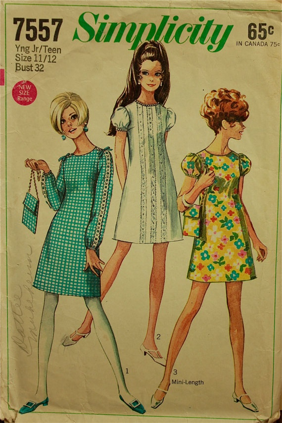 1960s Mini Dresses.  My mom used to sew most of our clothes.  It cost too much money to buy them pre-made.  Not anymore!