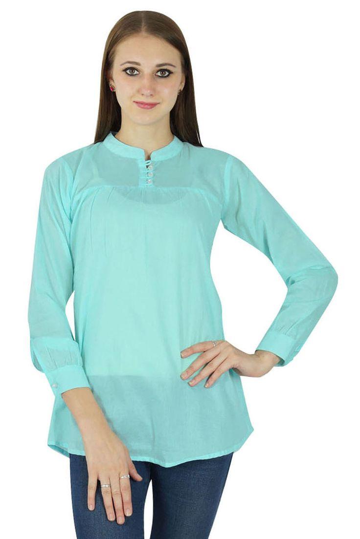 Blue Sundress Women Boho Top Wear Clothing Cotton Dress Summer Casual Tunic