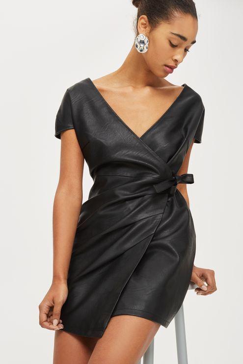 Faux Leather Wrap Mini Dress