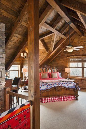 Beautiful, rustic, country bedroom in a cabin~