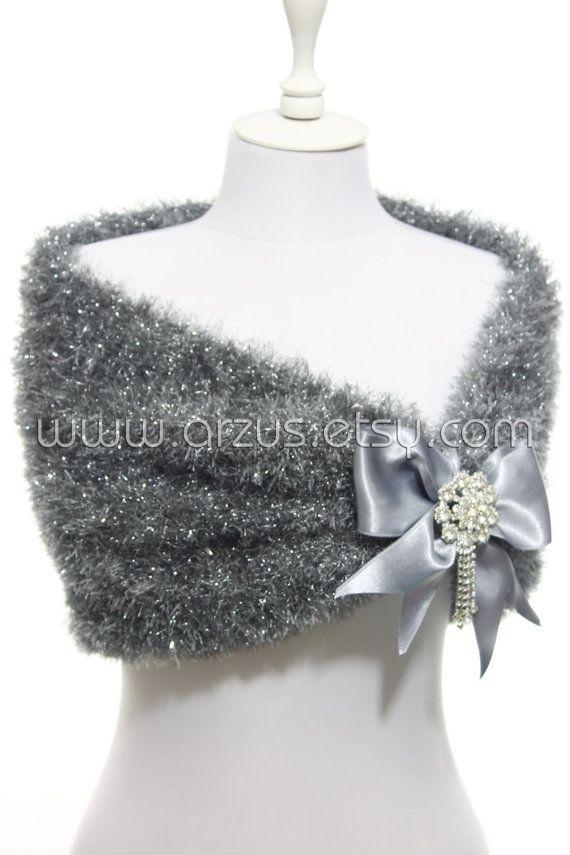 Grey Silver Wedding Shawl Bridal Shawl Bridal Wedding by Arzus