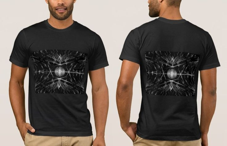 Black T-Shirt with a Black and White Digital Art Graphic Image