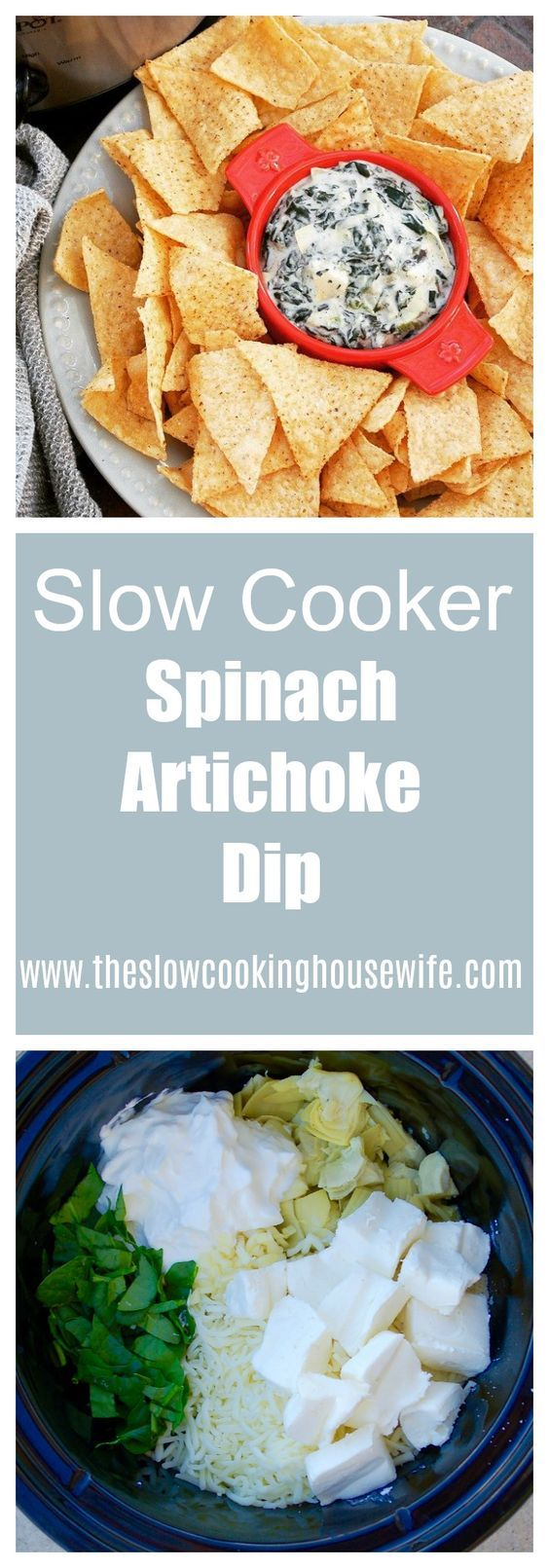 This Slow Cooker Spinach Artichoke Dip is delicious and super easy when made in the crockpot!