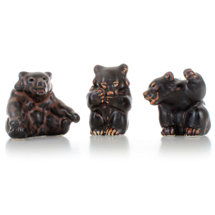 Royal Copenhagen figurines - set of three Knud Kyhn bears, all are Grade A. Danish stoneware. Set of three brown bears in pristine condition by DanishVintageDesigns on Etsy