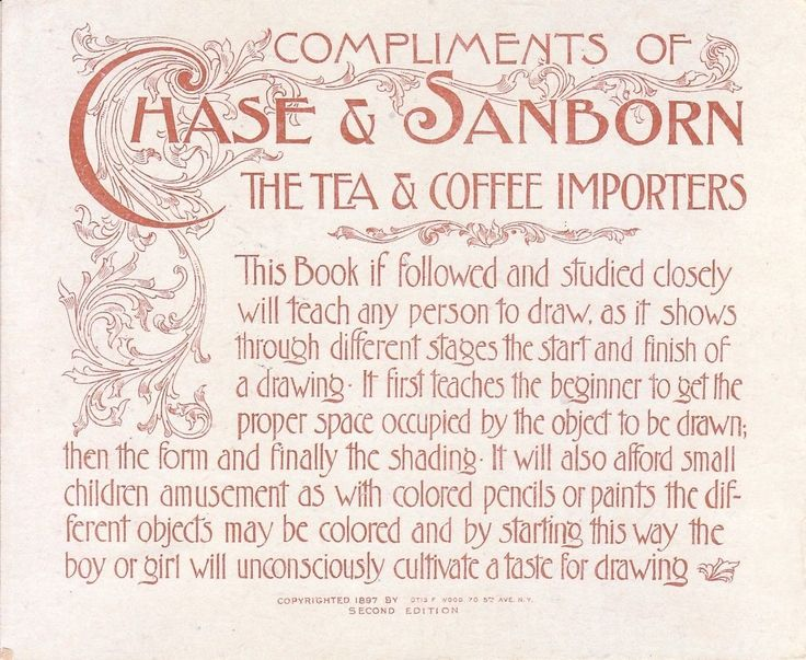 1897 Chase Sanborn Seal Coffee Advertising Early Drawing Coloring Book Unused | eBay