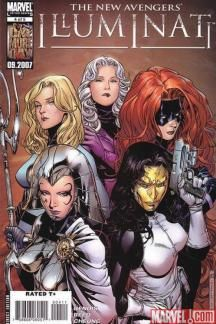 New Avengers: Illuminati #4 (2007) cover by Jim Cheung.  Cover shows the loves of each Illuminati member.