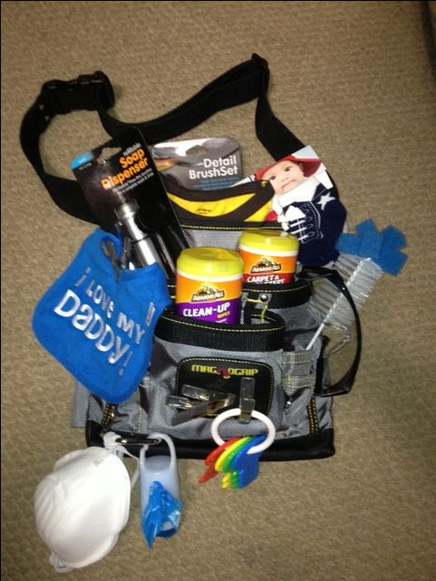 Daddy tool belt. Daddy to be gift idea. Father to be gift.  Daddy baby shower gift. Baby shower gift for him. Daddy survival kit. Car cleaning stuff, googles, masks, baby socks, dirty diaper bags, daddy bib, car keys, bottle brush. Daddy LOVED it!!