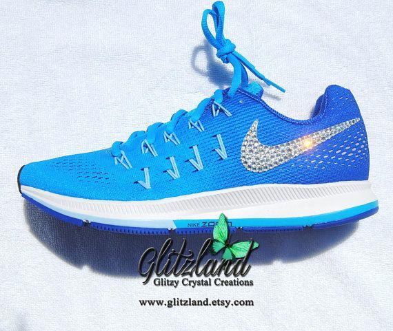 Swarovski Blue / White Nike Air Zoom Pegasus 34 Blinged with SWAROVSKI®  Crystals