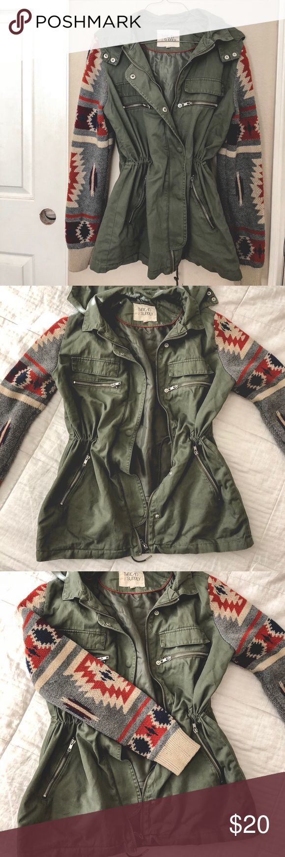 Khaki green drawstring parka Khaki green drawstring parka with knit sleeves. Thick knit to keep you warm. Drawstrings to cinch the waist. Non removable hood. Perfect condition. Fits true to size. thread & supply Jackets & Coats Utility Jackets
