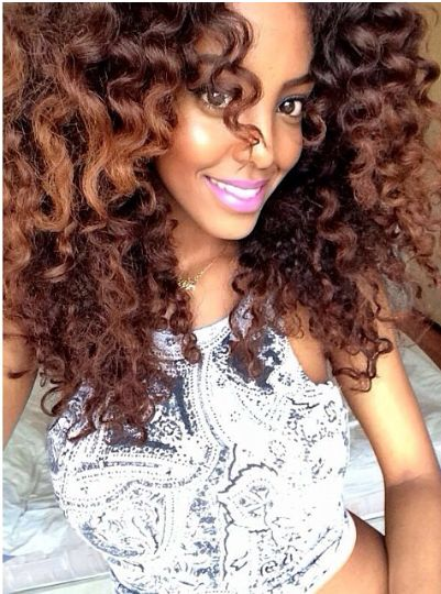Curly long hairstyle, natural hair, love the hair color !