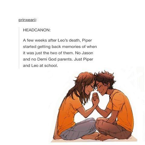 a tradução e mais ou menos assim Quando Leo `morreu´.Piper recuperou suas memorias de quando eram so os dois na escola .Sem Jason .....não consegui traduzir o resto