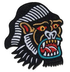 Gorilla patch in traditional tattoo style.  Image from https://s-media-cache-ak0.pinimg.com/236x/fe/6a/01/fe6a01919024b8f450e4507a03dd98e6.jpg.