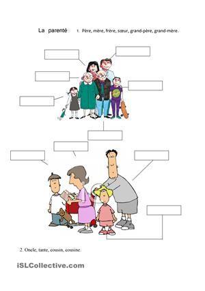 La parentè fiche d'exercices - Fiches pédagogiques gratuites FLE