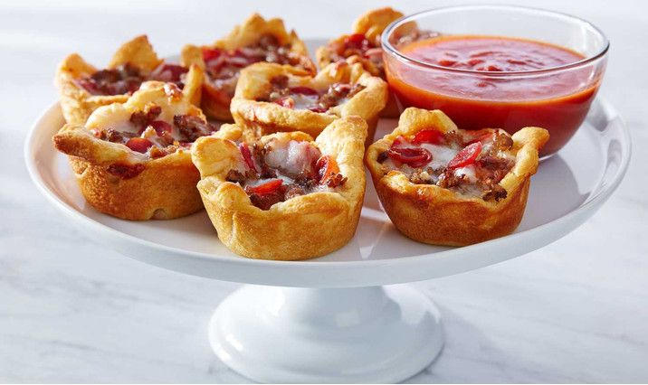 Crescent roll pizza cupcakes