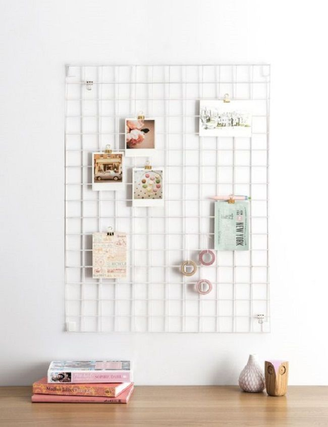 black and white home office, wire mesh memo board