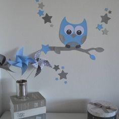 Stickers hibou et ses 16 étoiles - bleu argenté gris - décoration chambre enfant bébé garçon