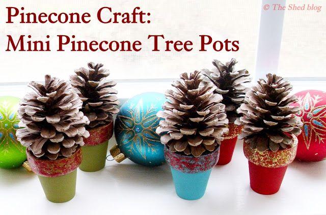 Pinecone Tree Pots: 100 Days of Homemade Holiday Inspiration on HoosierHomemade.com #100Days, #Christmas #Crafts