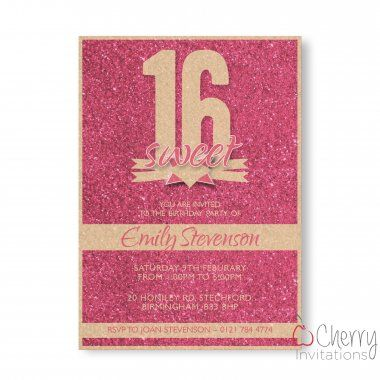 Pink Glitter Themed Single Sided Personalised Birthday Invitations - From as little as £0.41 per card - Including free envelopes and delivery on all orders!