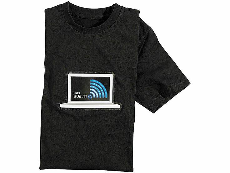 infactory T Shirt mit leuchtender WiFi /WLAN Anzeige Größe S