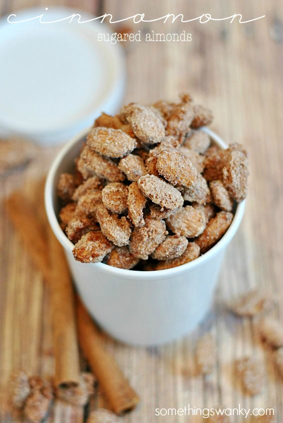 Cinnamon Sugared Almonds, you'd never believe they were so EASY!   www.somethingswanky.com