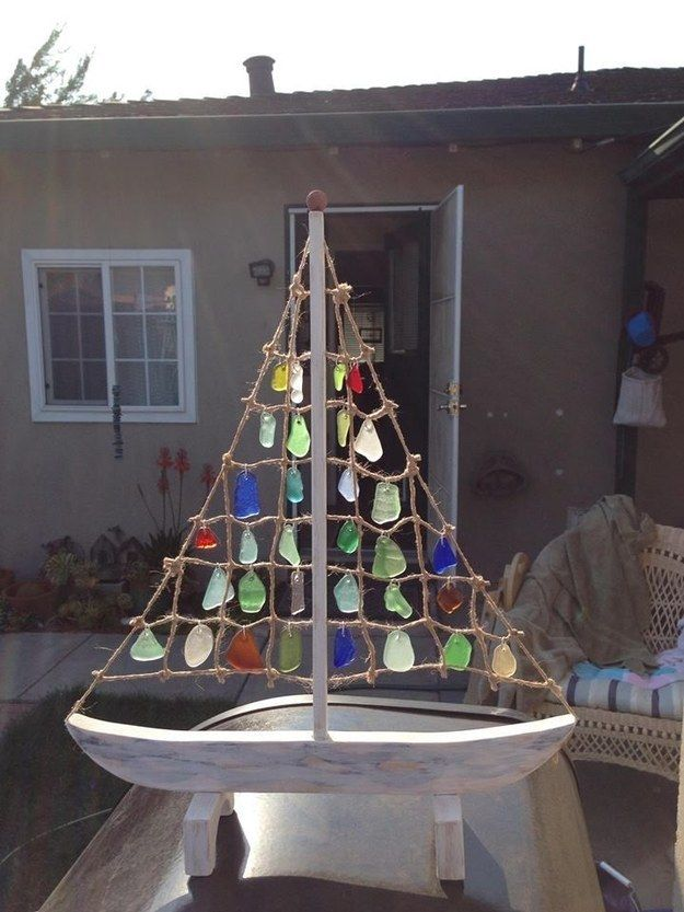 Sea Glass Sailboat | Community Post: 30 DIY Sea Glass Projects