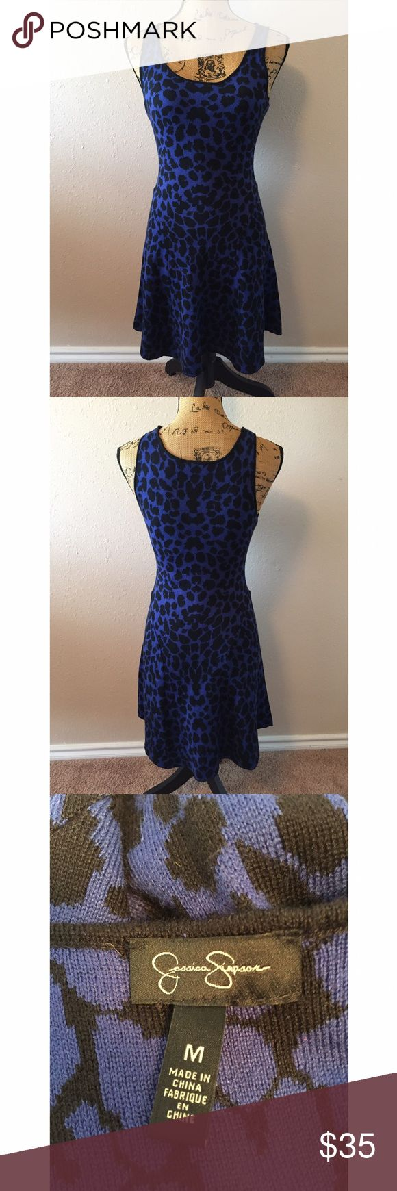 Jessica Simpson Blue Leopard Skater Dress Measurements - Bust 15in (20) Length 26in Dress has a lot of stretch and is super soft. In beautiful condition. ❤️ Jessica Simpson Dresses