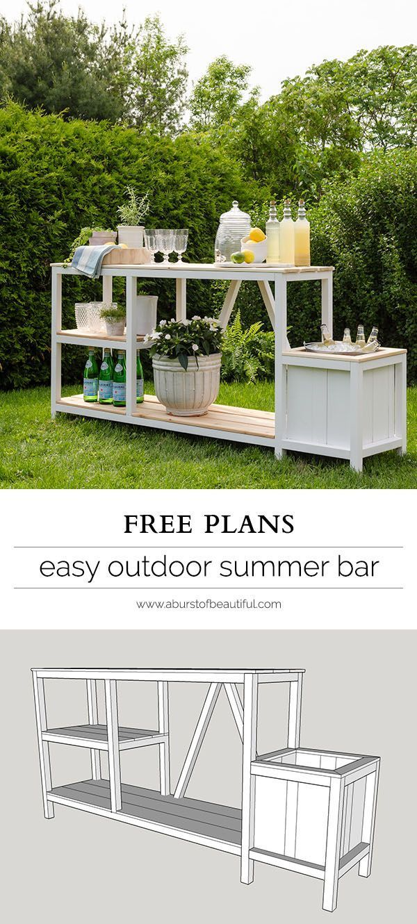 Summer entertaining is easy with this beautiful DIY outdoor bar + free plans. {wine glass writer}