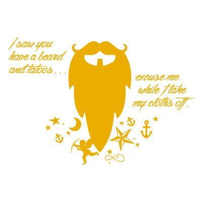 "The Decal Guru Beard Funny Quote Wall Decal Size: 48"" H x 70"" W x 0.01"" D, Color: Signal Yellow"