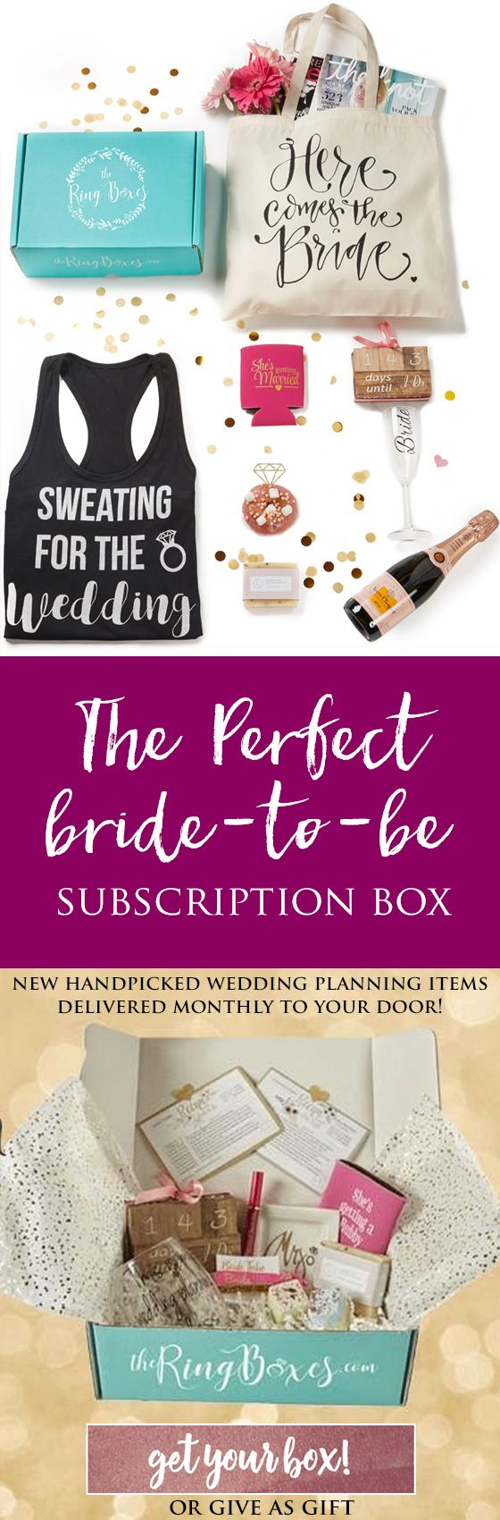 """Handpicked bridal items delivered monthly to your door! Or give as a gift for a bride-to-be! Boxes will include Items such as the cute """"Pop the champagne I'm changing my last name"""" tank tops, Vow booklets, Groom flasks, banners, cake toppers, MR & MRS chair signs, luggage tags, Spa and beauty products, Recipe cards to help our brides expand their cookbooks, as well as gorgeous wedding decor & favors, Date night perks & much more!"""