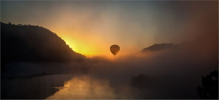 Misty sunrise landscape photograph with a hot air balloon, entitled 'Kloofzicht' by ChrisHJ on Outdoorphoto weekly choice Galleries  #atGuvon