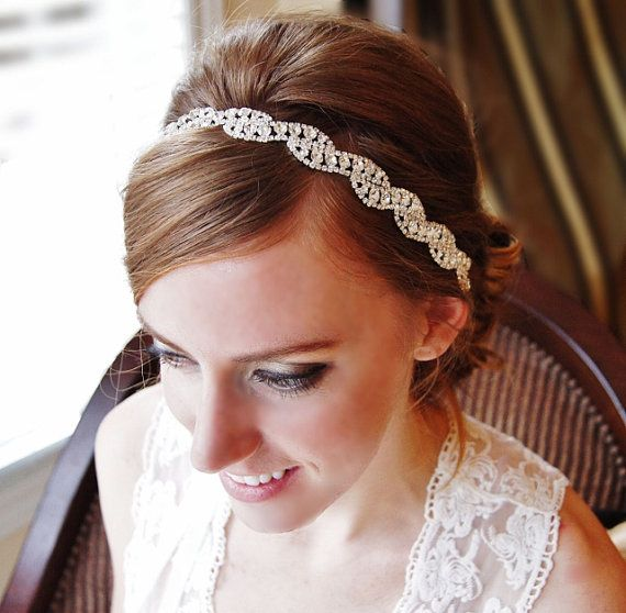 Crystal Headband Ribbon Tie-On Bridal Special Occasion Hair Accessory Wedding Accessories