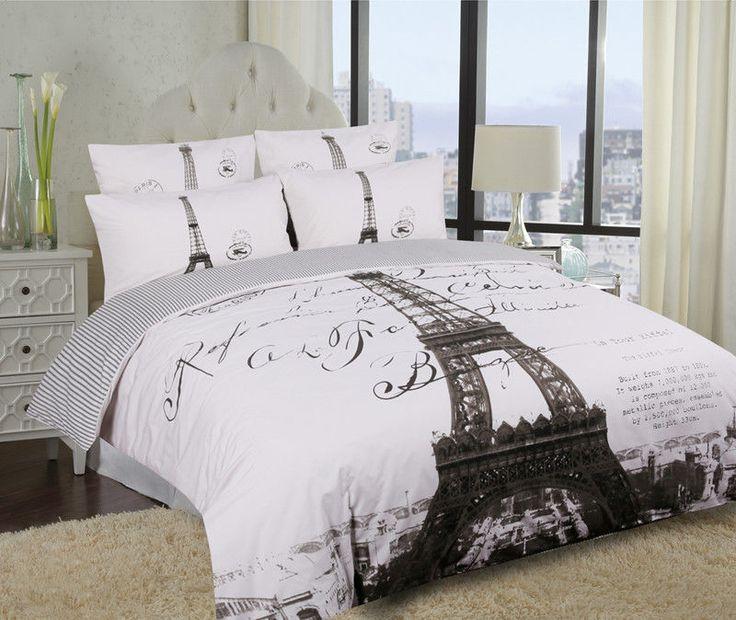 Single/Double/Queen/King Eiffel Tower Paris Quilt/Duvet Cover Set Parisienne