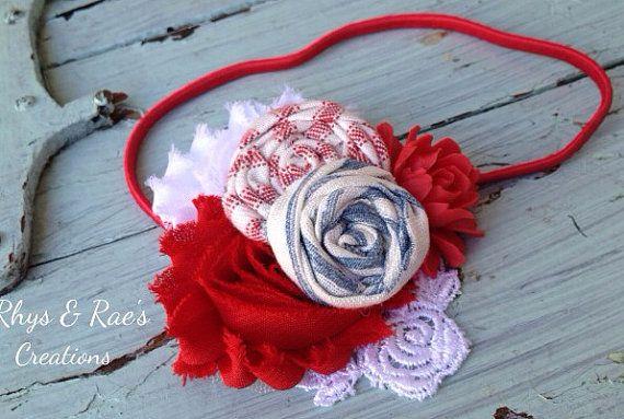 Red, White and Blue Fabric Flower Rosette Headband, Red Headband, Girls Headband, Patriotic Headband, Women's Headband, Flower Hair Clip on Etsy, $16.00