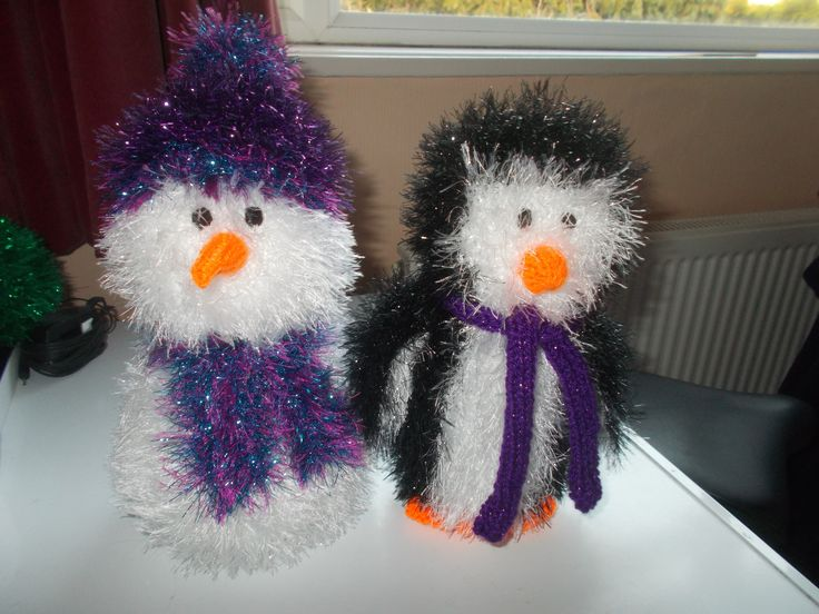 Snowman and Penguin in King Cole Tinsel chunky