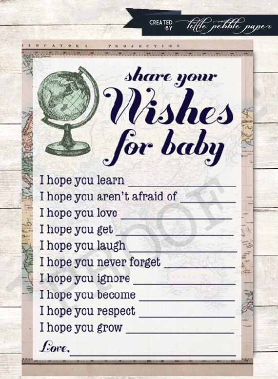 Wishes for Baby Shower Game Printable Welcome by LittlePebblePaper