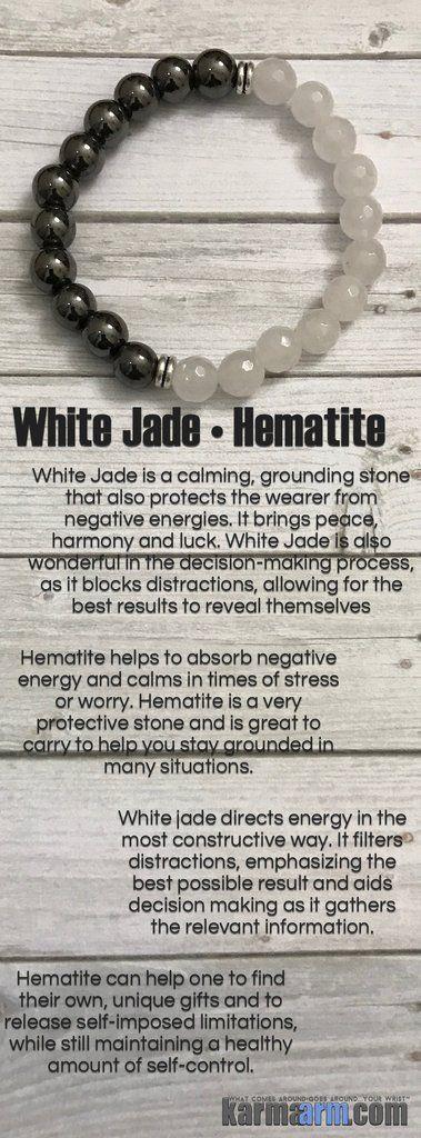 Buddha White Jade hematite Yoga Bead Bracelet Healing Mala spiritual karma jewelry for men & women Boho Tribal Gypsy Artisan Beaded Bracelets.