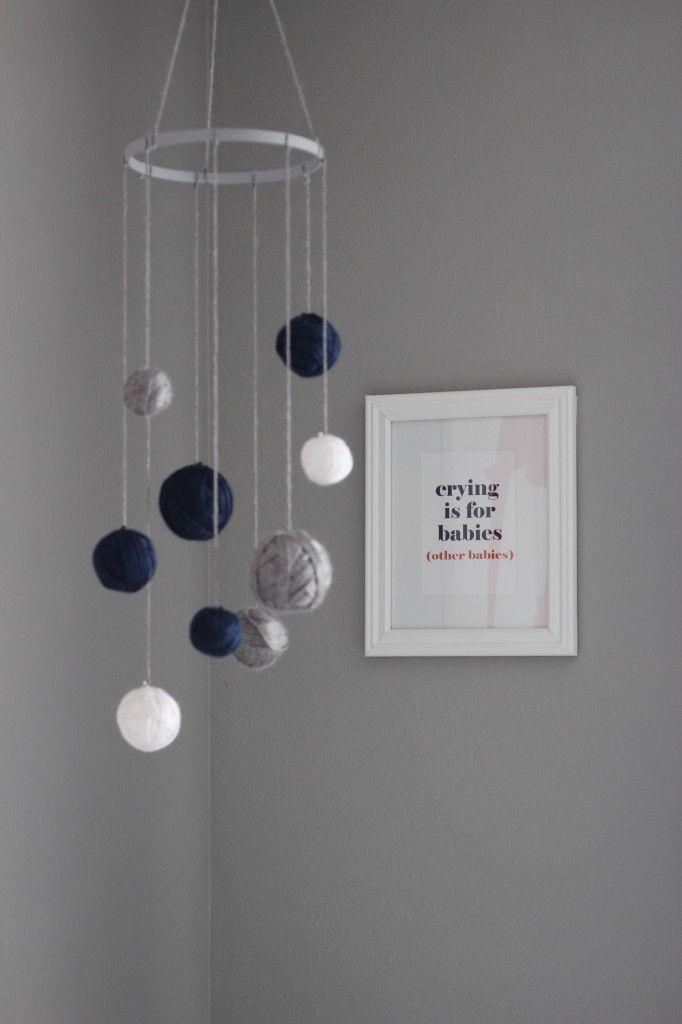Project Nursery - DIY Mobile with Yarn Wrapped Around Styrofoam Balls