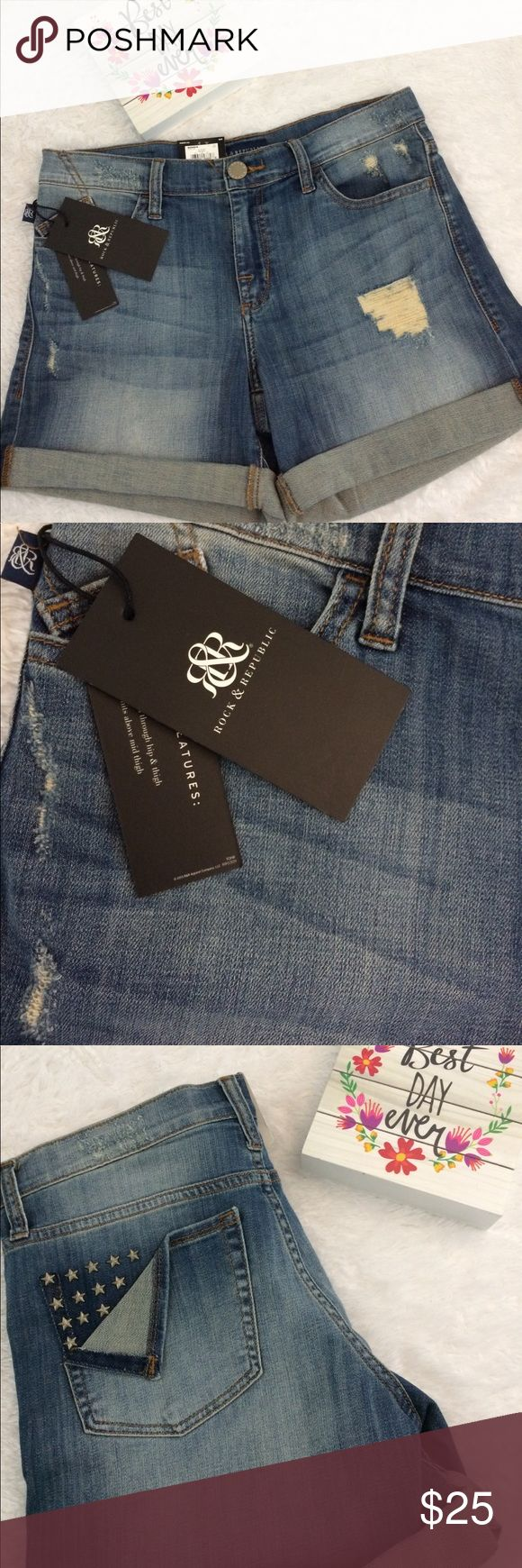 New With Tags Rock & Republic Jean Shorts Size 10 Brand New With Tags Rock & Republic Jean Shorts • Size 10 • Factory Distressed • Studded Back Pocket Detail • 98 % Cotton 2 % Elastane • I have a pair of these myself and absolutely LOVE them ..the fit is great with just the right amount of stretch • All orders ship same business day • FREE SHIPPING SALE on all orders of $40 or more including bundles • Be sure to comment if you are taking part in the shipping sale so I can set up a separate…