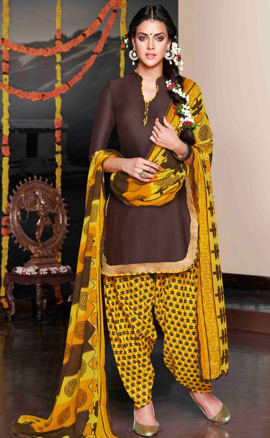 USD 30.25 Brown Cotton Satin Punjabi Suit 47617