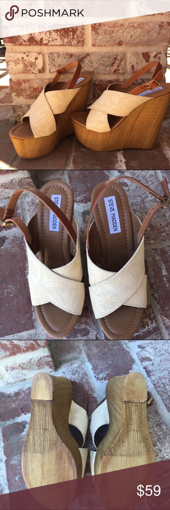 🎉 NWOT Steve Madden platform wedges!!!! On Sale to cover your shipping!!!! Cream platforms with faux wooden wedges, size 8. Never been worn! Steve Madden Shoes Wedges